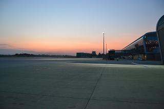 The apron of Lviv airport at sunset