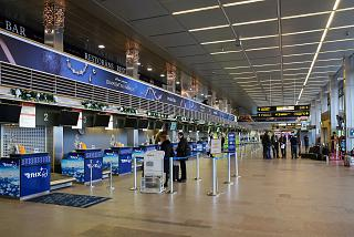 The check-in area for departing flights in Riga airport