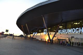 The passenger terminal of Kurumoch airport at dawn