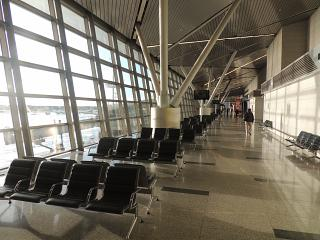 Place to wait for flights in terminal A of airport Moscow Vnukovo