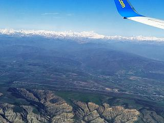 In flight over Georgia. Away mount Kazbek.