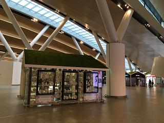 Trade pavilions in a clean area of the airport Platov