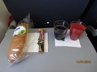 Питание на рейсе Париж-Варшава авиакомпании ЛОТ