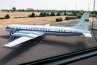 Aircraft IL-18, reg. DM-STA at the museum parking lot at Leipzig-Halle Airport