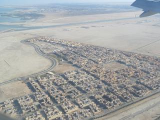 Residential areas before landing at the airport of Abu Dhabi