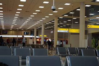 The waiting room in a clean zone of terminal E of Sheremetyevo airport
