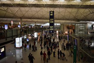 В пассажирском терминале аэропорта Гонконга
