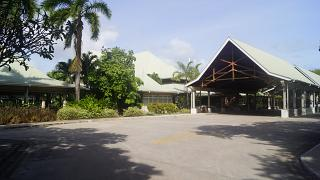 The terminal of the airport of Praslin from the forecourt