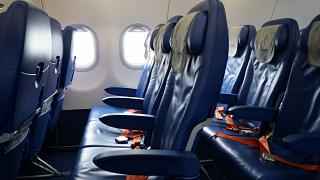 Seat economy class in Airbus a-320 aircraft of Aeroflot airlines