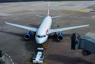 Airbus A320 of British Airways at Dusseldorf airport