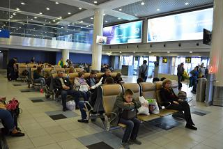 The waiting room before the boarding gates at the airport Domodedovo