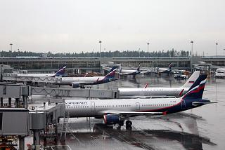 Aeroflot planes at apron of terminal D of Sheremetyevo airport