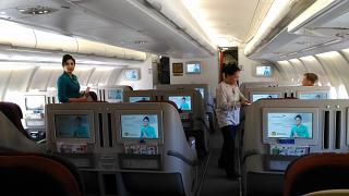The business class in Airbus A330-300 of Garuda Indonesia