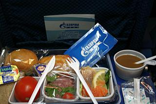 Food on the flight Ulyanovsk-Moscow airlines, Gazpromavia