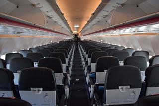 The passenger cabin of the Airbus A320 of Air France