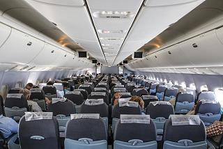 The passenger cabin of a Boeing-767-200 of the airline UTair
