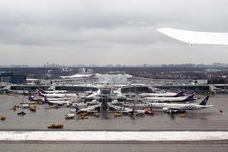 Takeoff view of terminal D of Moscow Sheremetyevo airport