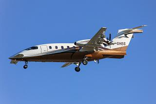 The aircraft is the Piaggio P. 180 Avanti with the number of C-GHBS