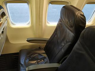 The passenger seat of economy class in the Boeing-737-300 airline, airBaltic