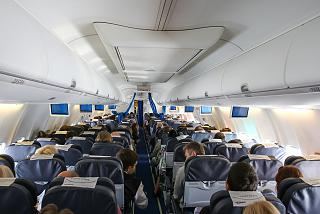 The passenger cabin of a Boeing 737-800 of the airline Smartwings