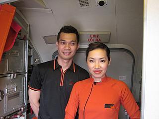 The flight attendants of Vietnam airlines Jetstar Pacific