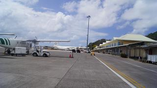 The platform of the airport of Mahe in the Seychelles