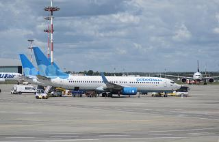 The aircraft of Pobeda Airlines on the apron of Moscow Vnukovo airport
