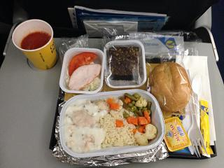 Food on the flight Kiev-Astana Ukraine International airlines
