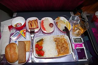Food on flight Thai Airways from Moscow to Bangkok