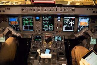The instrument panel Embraer 190 of the airline Helvetic Airways
