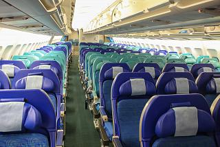 The economy class cabin in the Airbus A340-300 Cathay Pacific