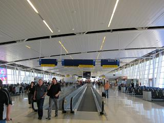 Hall with the boarding gates at the airport in Indianapolis