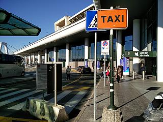 At the exit of the passenger terminal of the airport of Milan Malpensa