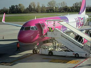 An Airbus A320 of Wizz Air at the airport of Treviso