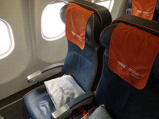 The passenger seats in the economy class in Airbus A330-300 Aeroflot