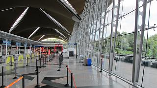 The reception area in the main terminal of the airport of Kuala Lumpur