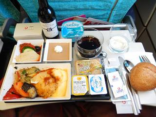 Food on the flight of Turkish Airlines Istanbul-Bruxelles