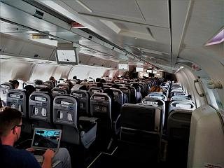 The passenger cabin of the Boeing 767-300 airline Air Azur Germany