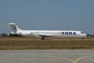 The aircraft MD-83 UR-CPB airlines Anda Air at the airport of Kharkov