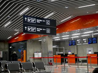 Check-in counters at terminal 2 of the airport of Ufa