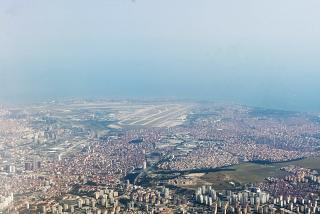 View of the Istanbul Ataturk airport after takeoff