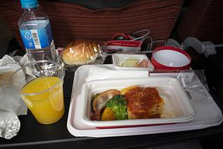 Dinner on the flight Tokyo-Moscow of Japan Airlines
