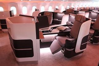 The passenger cabin of the business class in the plane CR929
