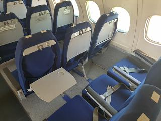 The passenger seats in the Tu-154B-2 of Malev airline