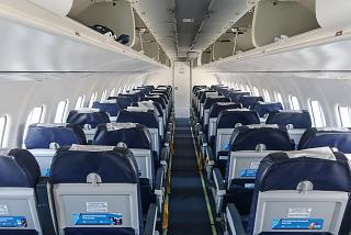 The passenger cabin of the ATR-42-500 aircraft of NordStar airlines