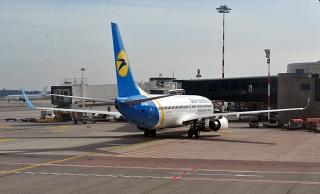 Boeing-737-800 UR-PSV Ukraine International airlines at the airport of Milan Malpensa