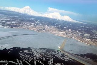 View of Petropavlovsk-Kamchatsky during takeoff