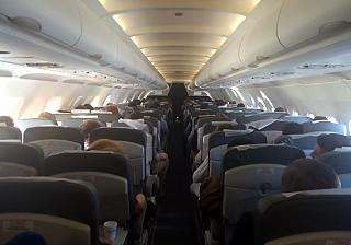 The cabin of Airbus A319 Donavia
