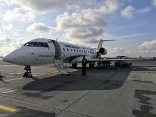 """The plane Bombardier CRJ-200 of airline """"Yamal"""" at the airport of Ekaterinburg"""