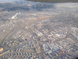 In flight over the city of Ulan-Ude